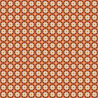 mod stil sömlösa mönster med blommor i cirklar på orange vektor