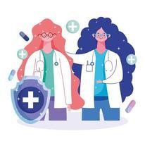 vaccination mot medicinsk hälsovård för kvinnlig läkarkapselkapsel vektor