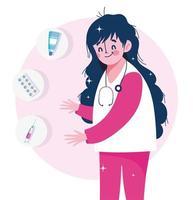 sjuksköterska kapsel spruta och vaccin vaccin mot medicinsk hälsovård vektor