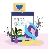 online yoga, ung kvinna som gör yoga webbplats app vektor
