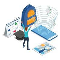 glad student som får tillgång till e-lärande på mobiltelefon