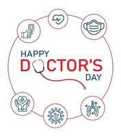 Happy Doctor's Day Grußkarte mit Linienikonen
