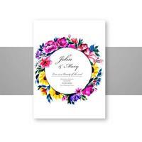 schöne dekorative Blumen runden Rahmen Hochzeitskarte vektor