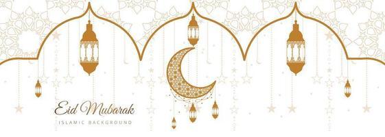 elegantes eid mubarak Banner mit Laternen vektor
