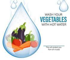 Waschen Sie Gemüse für Sicherheitsillustrationsdesign vektor