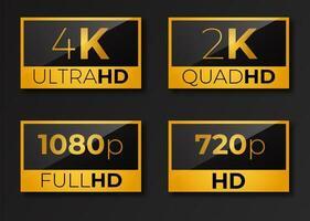 paket med videodimensioner hd ikoner 4k 2k 1080p 720p vektor