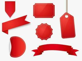 rotes leeres Preisschild und Etiketten gesetzt vektor
