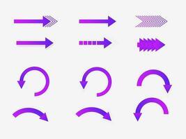 verschiedene lila Farbverlaufspfeile vektor
