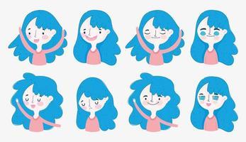 verschiedene blauhaarige Mädchen in verschiedenen Positionen vektor