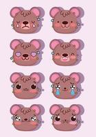 kawaii brunbjörn emoji ansikten pack vektor