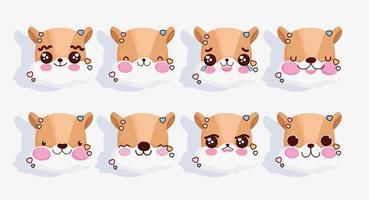 uppsättning kawaii räv emojis vektor