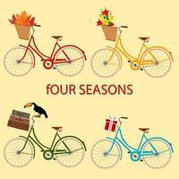 fyra färgade cyklar med blommor, väskor, lådor och blad