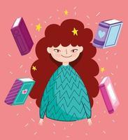 brünettes Mädchen mit Büchern vektor