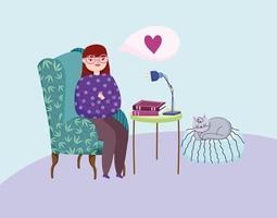 flicka i ett rum med böcker och en katt
