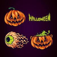 spöklik Halloween elementuppsättning vektor