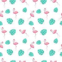 rosa flamingos med djungeln lämnar sömlösa mönster vektor