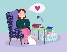 ung kvinna i ett rum med böcker och en katt