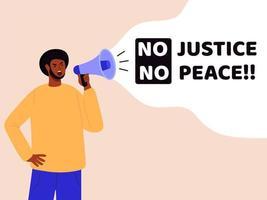 svart manprotester med megafon