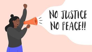 ung kvinnaprotester med megafon