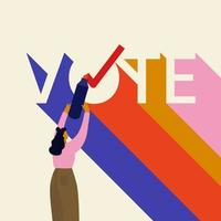 Abstimmung Schriftzug mit junger Frau und Stift vektor