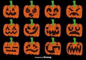 Vektor Set Of Hand Drawn Pumpkins