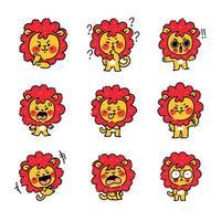 entzückendes kleines Löwenbaby-Maskottchenset vektor
