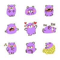 niedlicher lila Bär Emoticon Doodle Set vektor