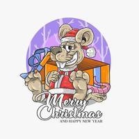 Frohe Weihnachten Design mit Ratte Santa vektor