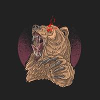 wütender Bär rote Augen und Krallen aus