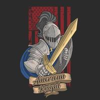 amerikanischer Ritter mit goldenem Schwert vektor