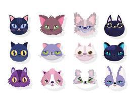 verschiedene süße Köpfe von Katzen vektor
