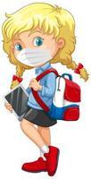 Schulmädchen trägt Maske