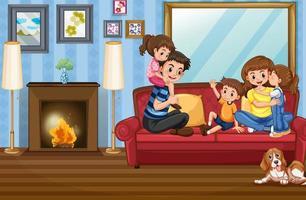 familjemedlemmar hemma i soffan vektor