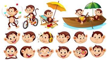 uppsättning apor med olika ansiktsuttryck isolerade