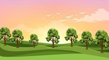 scen med många träd i fältet vektor