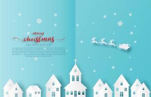 Papierschnitt Weihnachtsmann und Rentier fliegen über Stadt vektor