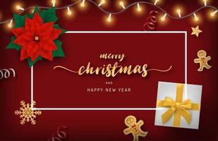 Frohe Weihnachten Design mit Lichtern, Geschenk und Lebkuchenmännern