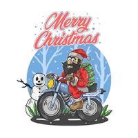 text för god jul med jultomten på motorcykeln vektor
