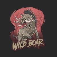Wildschwein auf rotem Baumhintergrund