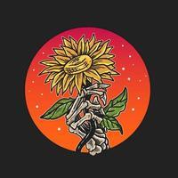 Knochenhand, die Blume hält vektor