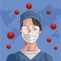sjuksköterska med ansiktsmask med kontinenter covid-19 skydd