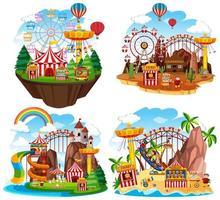 temapark scen med många åkattraktioner på öar vektor