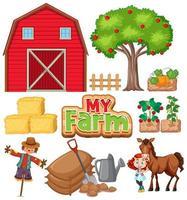Bauernhof gesetzt mit Scheune und Gemüse auf weißem Hintergrund