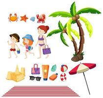 Set von Menschen und Sommerartikeln am Strand