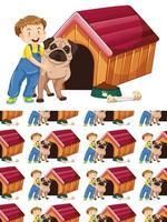 sömlös bakgrund med pojke och hund vektor