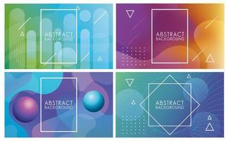 Flüssigkeitssatz abstrakter Hintergründe in verschiedenen Farben