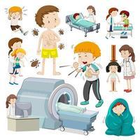 barn med olika typer av sjukdom vektor