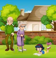 morföräldrar och flicka utomhus