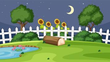 trädgårdsbild på natten vektor