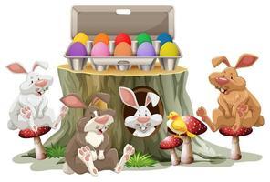 Häschen Ostern und bunte Eier auf weißem Hintergrund vektor